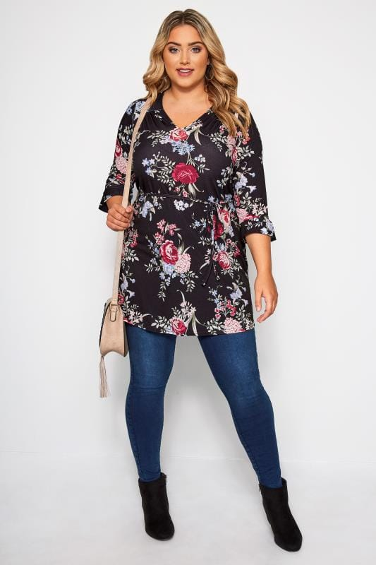 Plus Size Tunics Black Floral Jersey Tunic