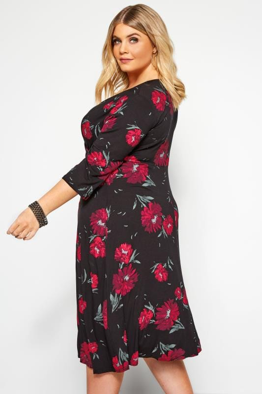 Black Floral Jersey Wrap Dress
