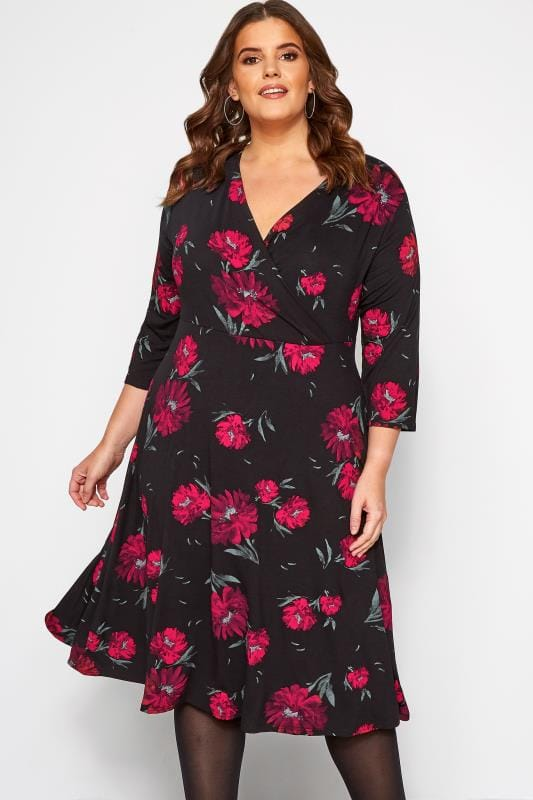 Plus Size Wrap Dresses Black Floral Jersey Wrap Dress