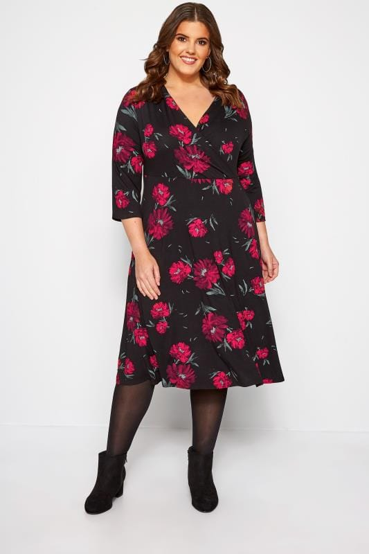 Black Floral Jersey Wrap Dress