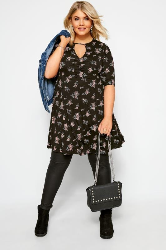 Black Floral Keyhole Ruched Dress