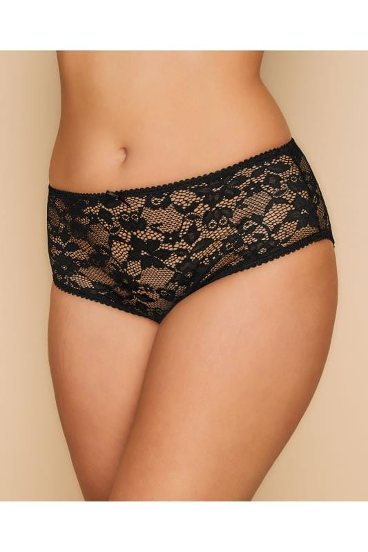 Plus Size Panties Black Floral Lace Briefs