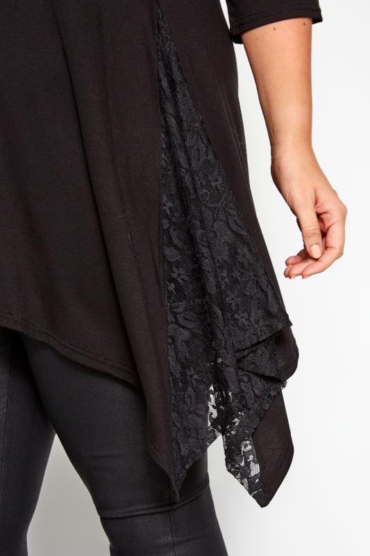 Black Floral Lace Insert Top
