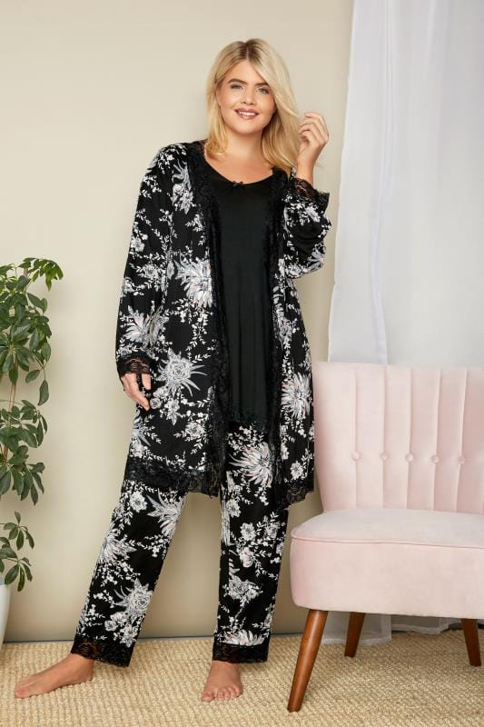 Black Floral Lace Loungewear Robe