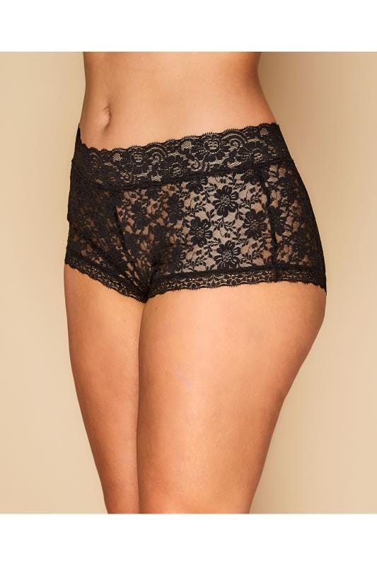 Plus Size Briefs Grande Taille Black Floral Lace Shorts