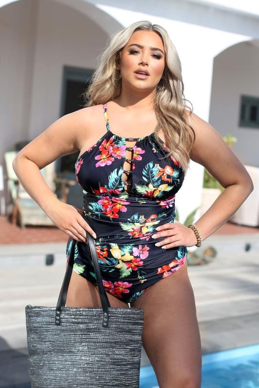 Plus-Größen Swimsuits Black Floral Lattice Swimsuit