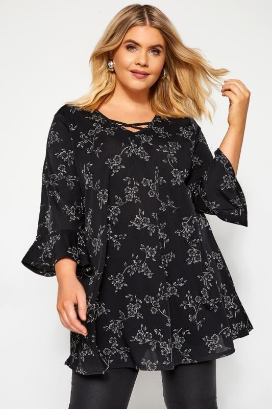 Plus Size Floral Tops Black Floral Lattice Top