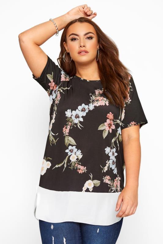 Plus Size Smart Jersey Tops Black Floral Layered Chiffon Hem Top