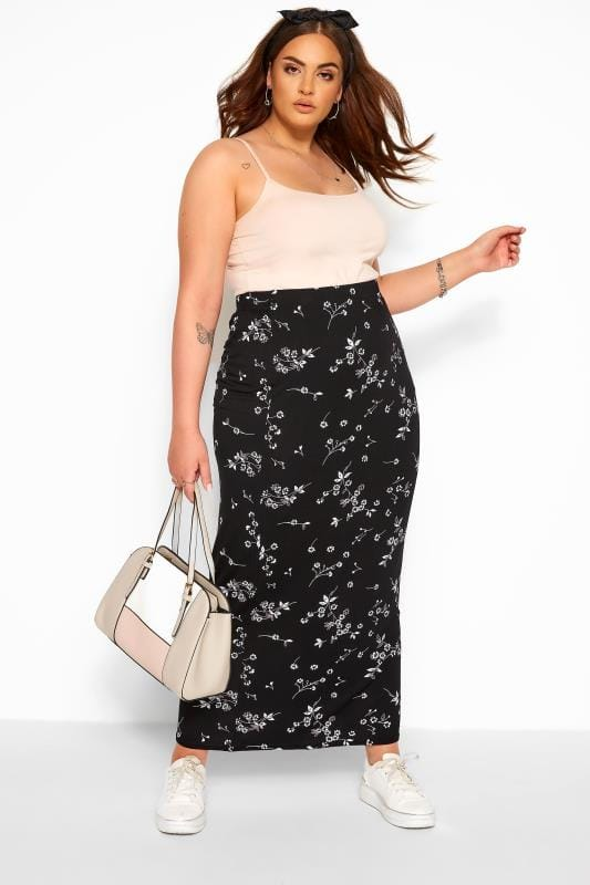 Plus Size Maxi Skirts Black Floral Maxi Tube Skirt