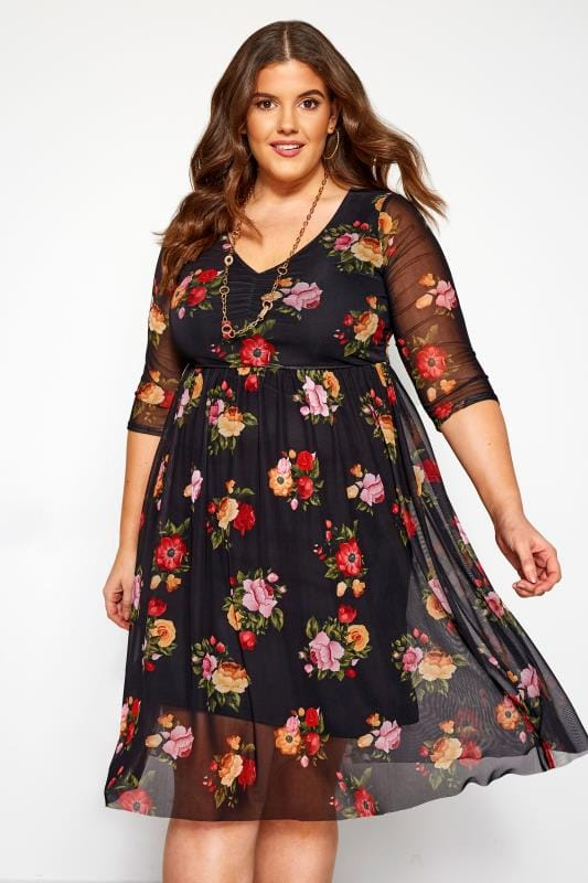 Plus Size Floral Dresses Black Floral Mesh Dress