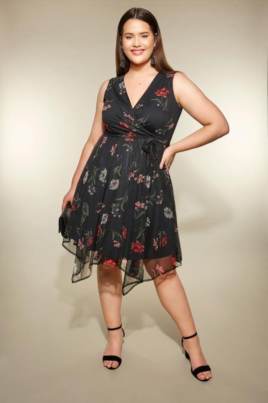 Black Floral Mesh Hanky Hem Dress