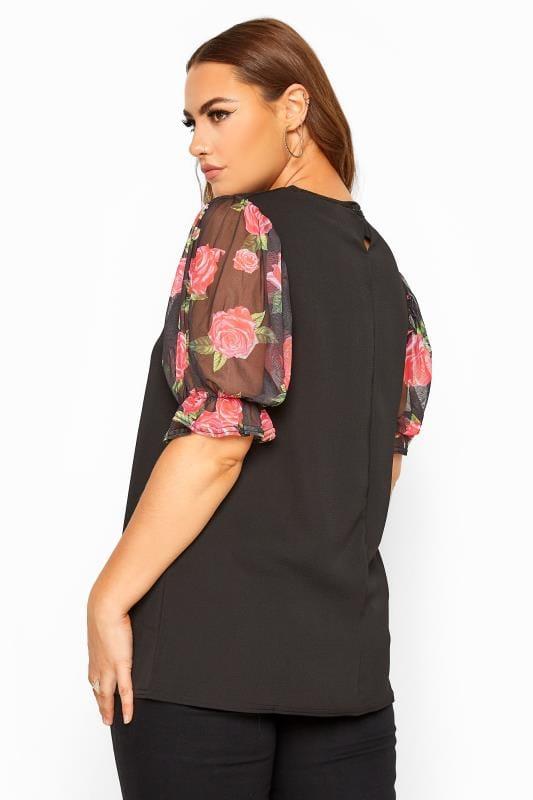 Black Floral Mesh Puff Sleeve Top