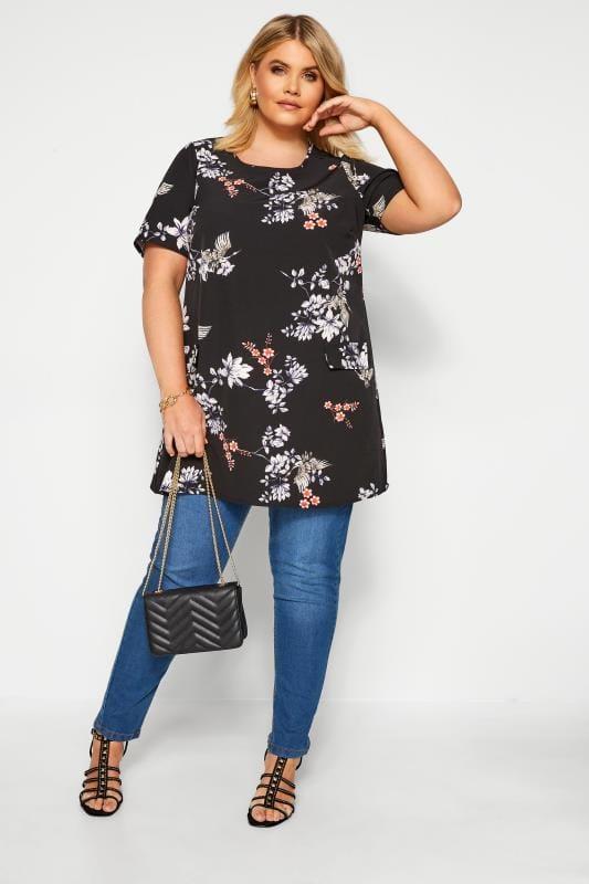 Black Floral Mock Pocket Tunic