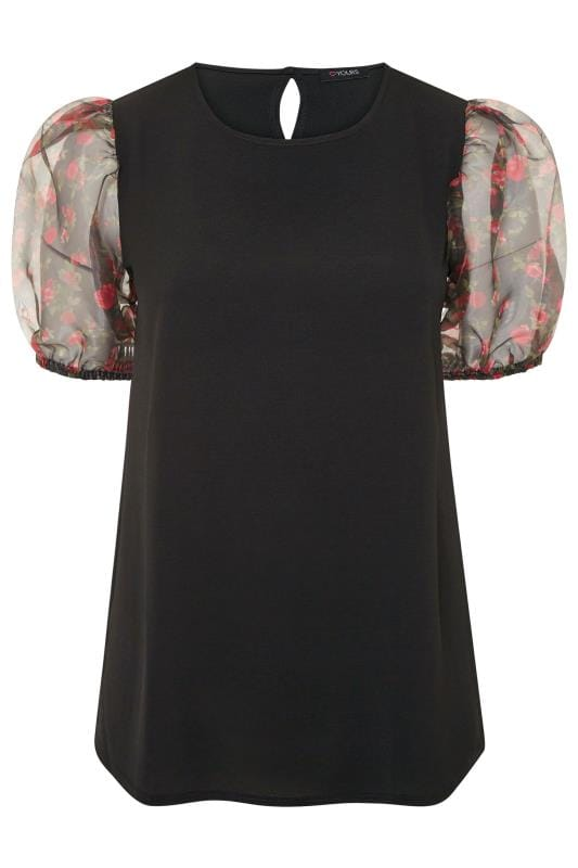 Black Floral Organza Puff Sleeve Top