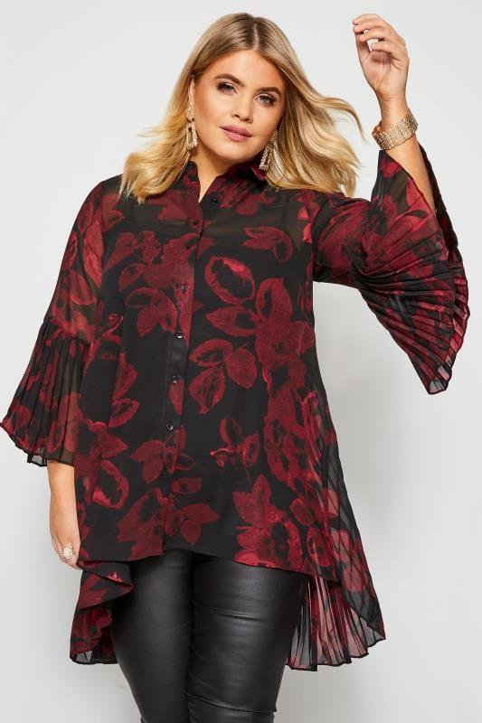 Plus Size Blouses Black Floral Pleated Longline Shirt
