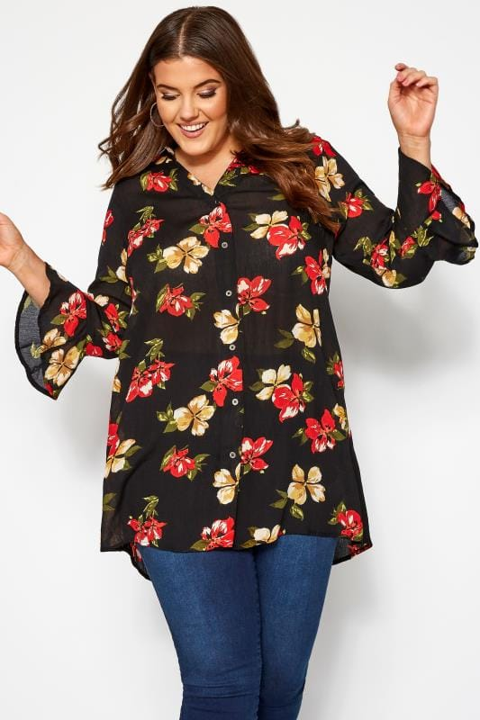 Plus Size Blouses & Shirts Black Floral Print Crinkle Shirt