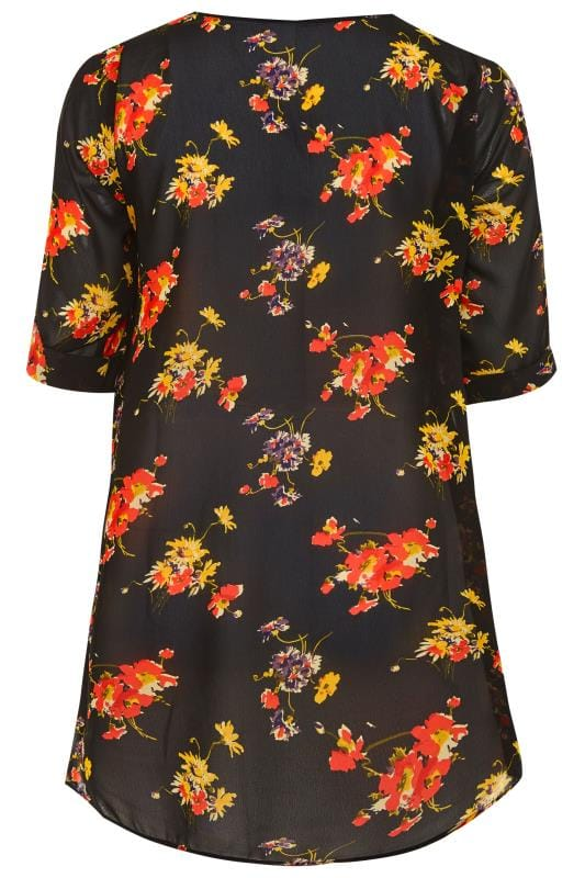 Black Floral Print Double Layered Blouse