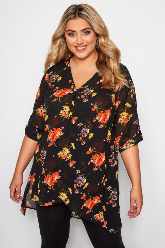 Blusas y camisas Tallas Grandes Blusa negra floral doble capa
