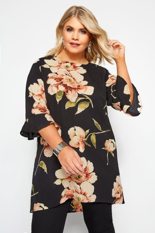 Große Größen Blusen Lange Bluse mit Blumen-Muster - Schwarz
