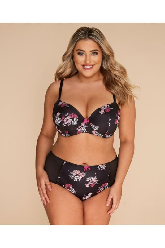 Plus Size Lingerie Sets Black Floral Print Briefs