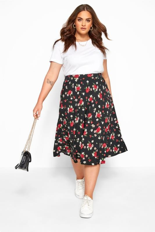 Plus Size Midi Skirts Black Floral Print Midi Skirt