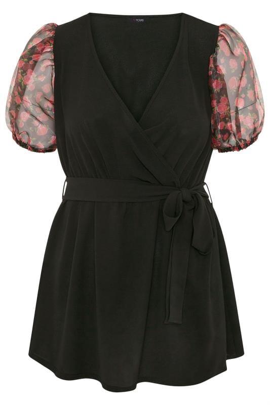 Black Floral Print Organza Puff Sleeve Wrap Blouse