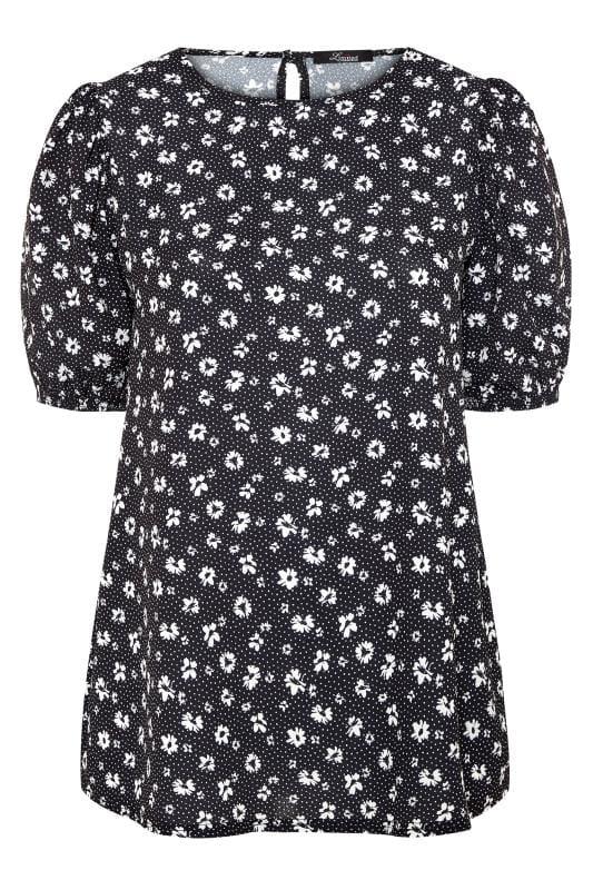 Black Floral Print Puff Sleeve Top