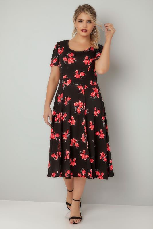 Black Floral Print Skater Dress With Self Tie Waist