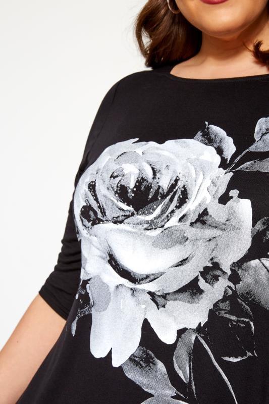 Black Floral Print Stud Swing Top