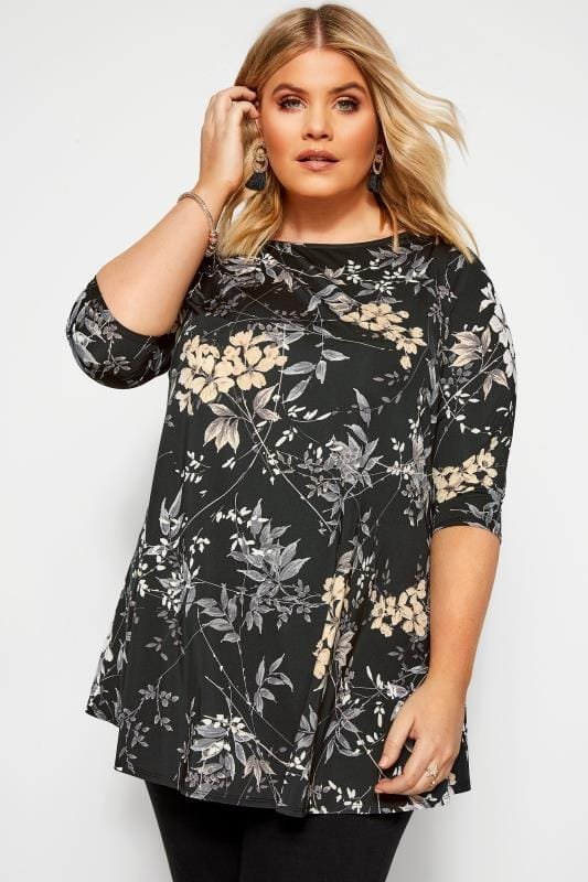 Plus Size Jersey Tops Black Floral Print Swing Top