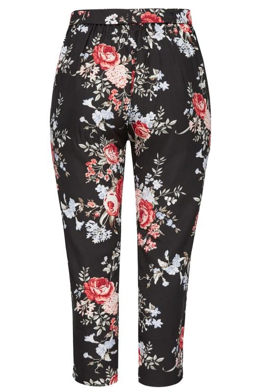 Black Rose Floral Tapered Trousers
