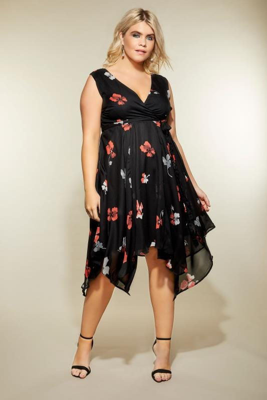 Plus Size Midi Dresses Black Floral Print Wrap Dress With Hanky Hem