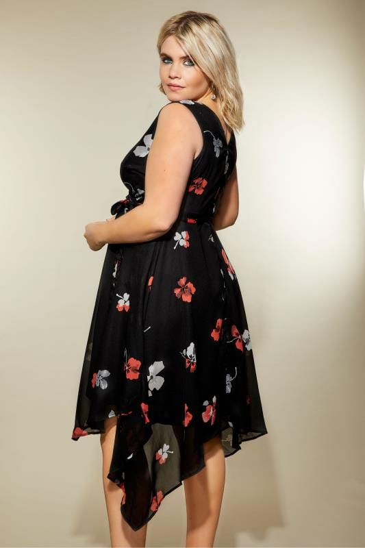 Black Floral Print Wrap Dress With Hanky Hem