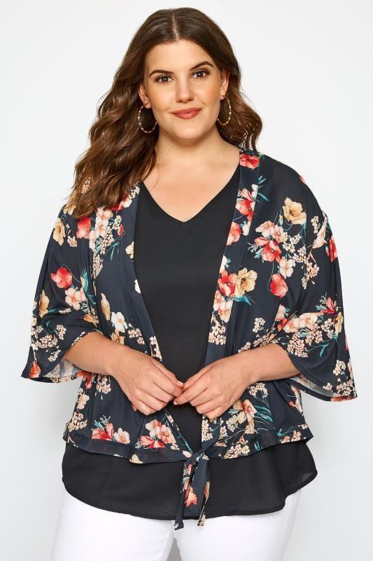 Black Floral Print Wrap Kimono