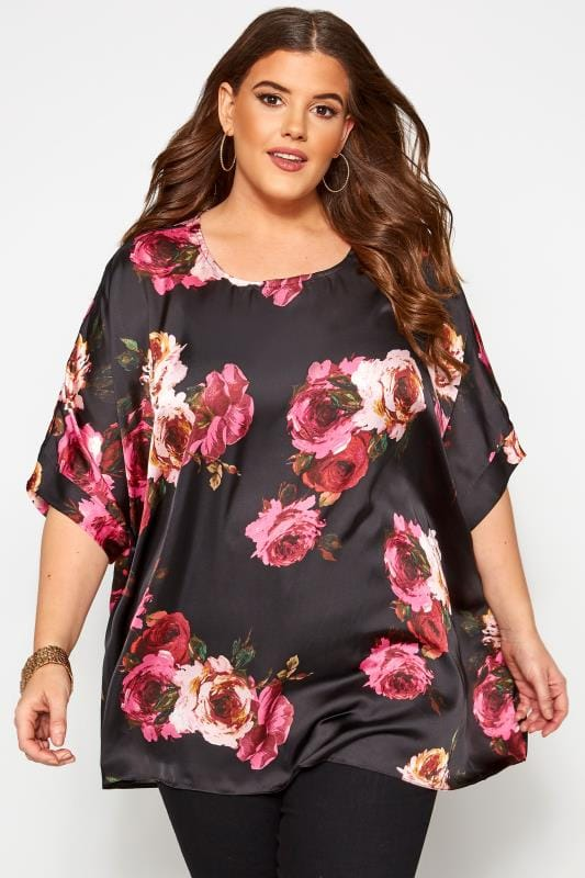 Plus Size Chiffon Blouses Black Floral Satin Cape Top