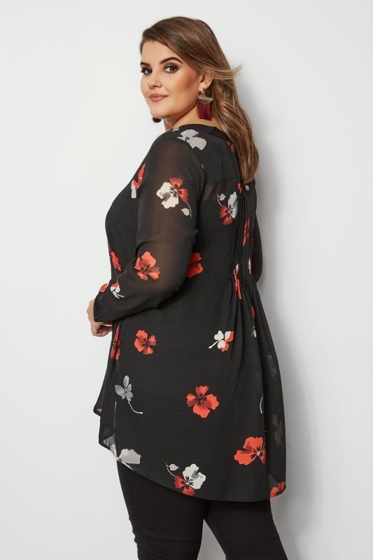 Black Floral Sequin Shirt