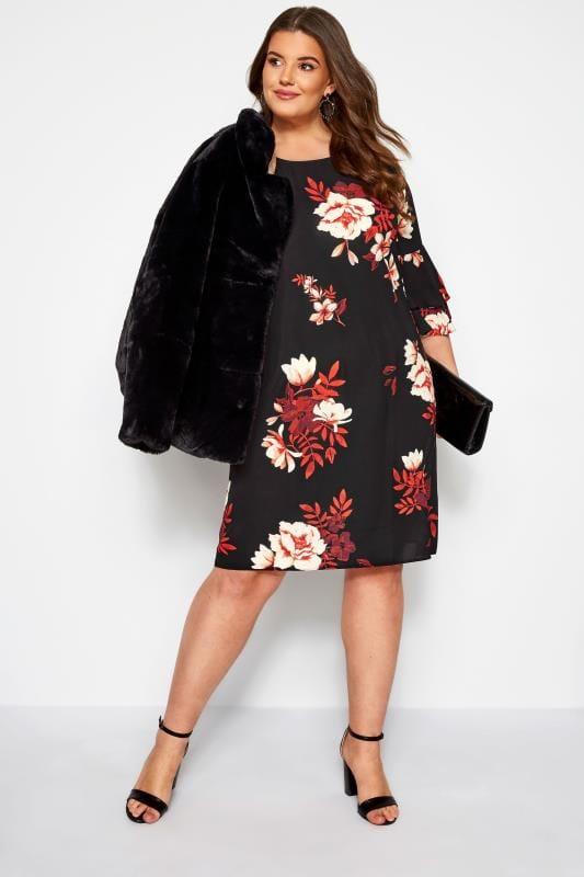 Plus-Größen Floral Dresses Black Floral Shift Tunic Dress