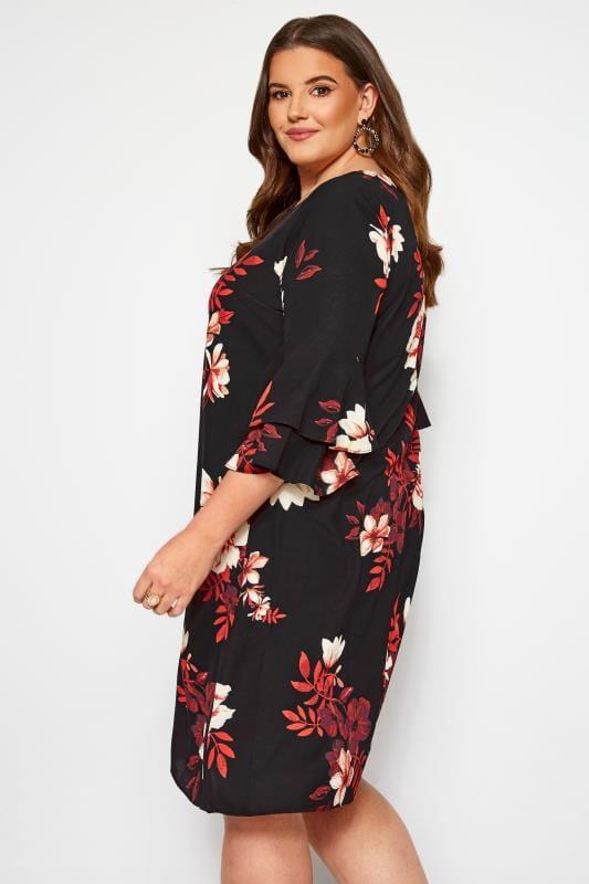 Black Floral Shift Tunic Dress