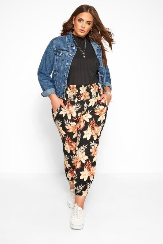 Plus Size Harem Trousers Black Floral Shirred Harem Trousers