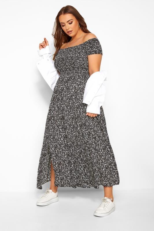 Maxi Dresses dla puszystych Black Floral Shirred Maxi Dress