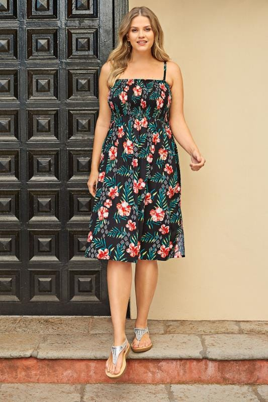 Black Floral Shirred Multiway Dress