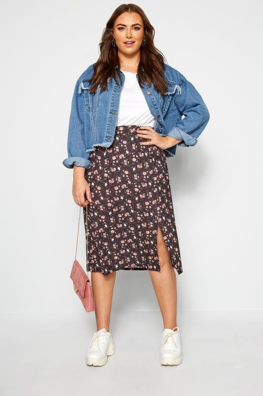 Elasticated Waist Skirts Black Floral Side Split Skirt