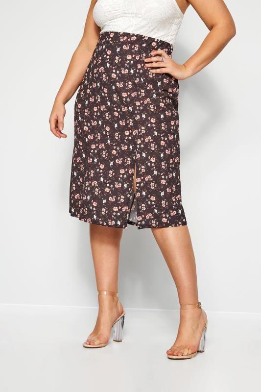Plus-Größen Elasticated Waist Skirts Black Floral Side Split Skirt
