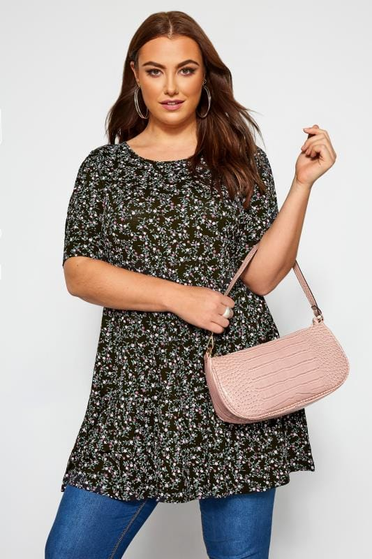 Plus Size Tunics Black Floral Smock Tunic