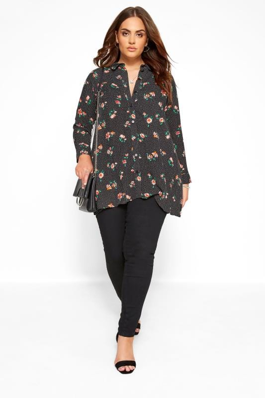 Black Floral Spotted Shirt