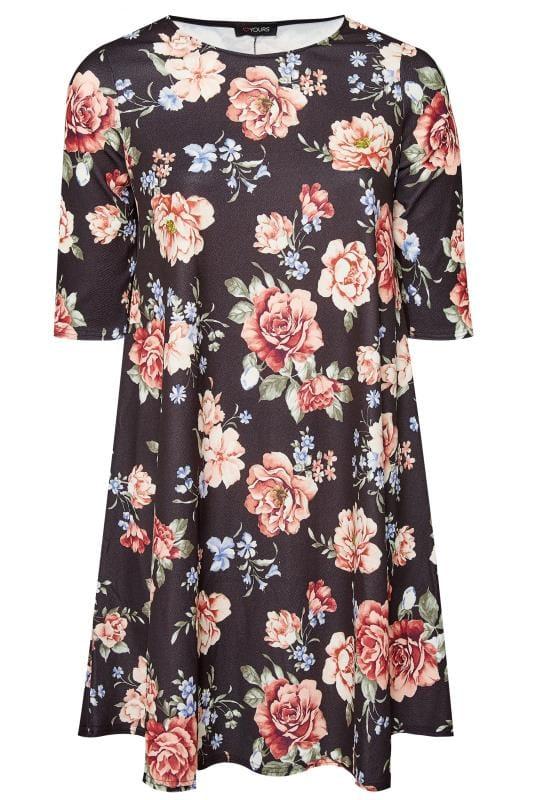 Zwarte swing jurk met all-over bloemenprint