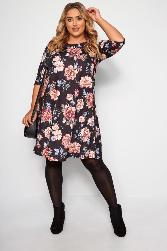 Jersey-Kleid mit Blumen-Muster - Schwarz
