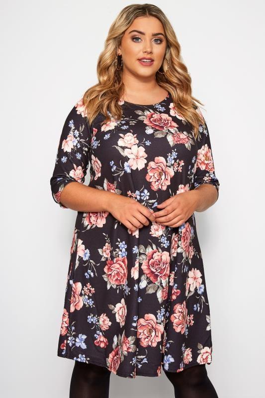 Plus Size Swing Dresses Black Floral Swing Dress