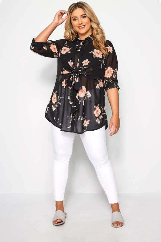 Black Floral Tie Front Shirt