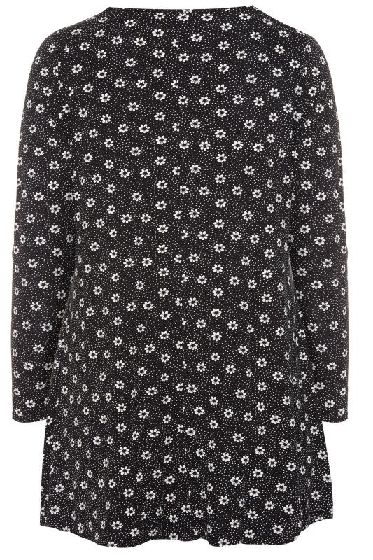 Black Floral Top With Zip Front